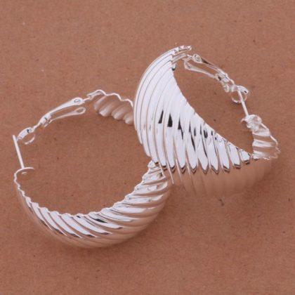 Cercei eleganti ondulati argint