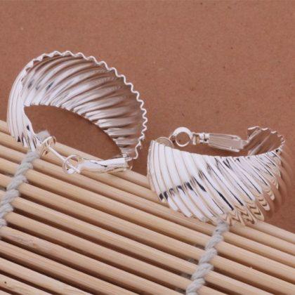 Cercei eleganti ondulati argint profil