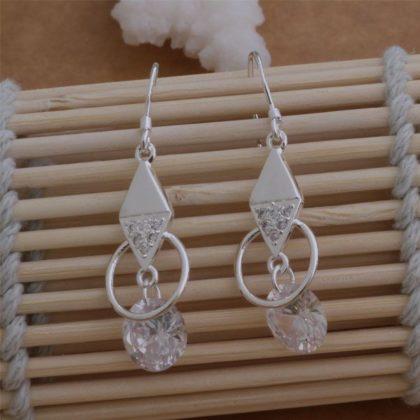 Cercei lungi cu cristale argint Eighty-seven fata