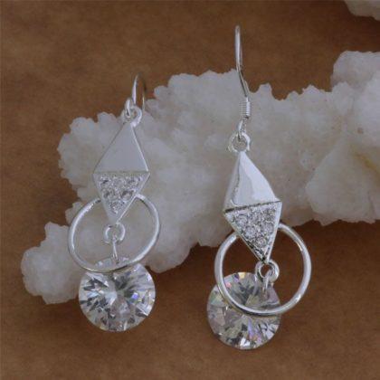 Cercei lungi cu cristale argint Eighty-seven profil