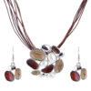Set colier cu cercei maro bijuterii africane fata