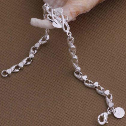 Bratara eleganta argint inimioare Eighty-seven profil