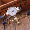 Ceas de mana cu bratara albastra si cristale Carude profil