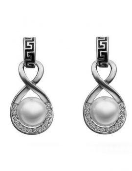 Cercei eleganti cu perla si cristale