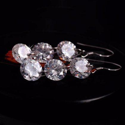 Cercei eleganti lungi argint cu cristale