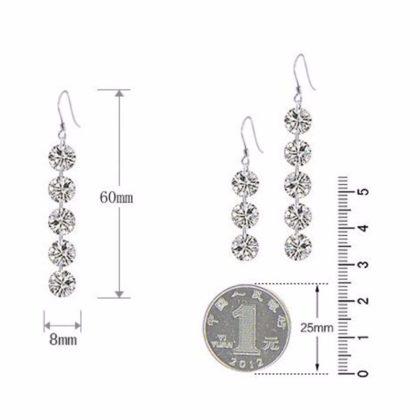 Cercei eleganti lungi argint cu cristale marimi