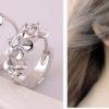 Cercei mici argint cu floricele si cristale model