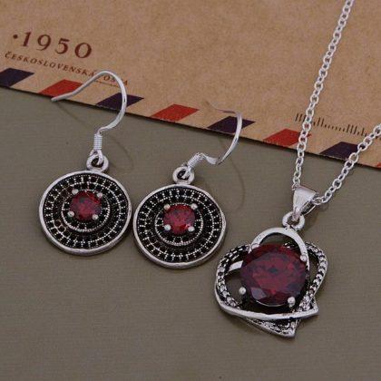 Set argint colier si cercei cristale rosii