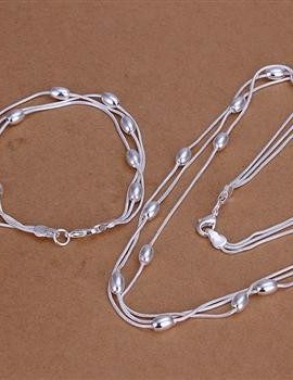 Set elegant colier si bratara argint cu bilute
