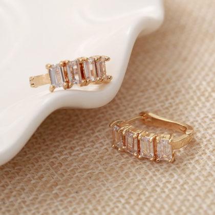 Cercei mici placati aur cristale zirconiu fata