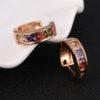 Cercei mici placati aur cu cristale zirconiu fata