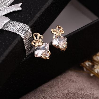 Cercei placati aur mici cu cristale