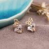 Cercei placati aur mici cu cristale fata
