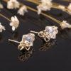 Cercei placati aur mici cu cristale profil