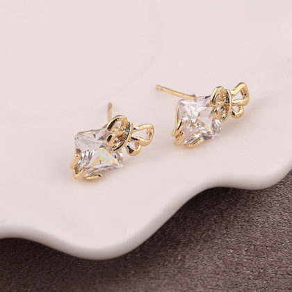 Cercei placati aur mici cu cristale sus