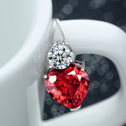 Colier argint 925, pandantiv inimioara zirconiu rosu pandantiv