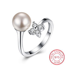 Inel ajustabil argint 925 cu perla si floricica