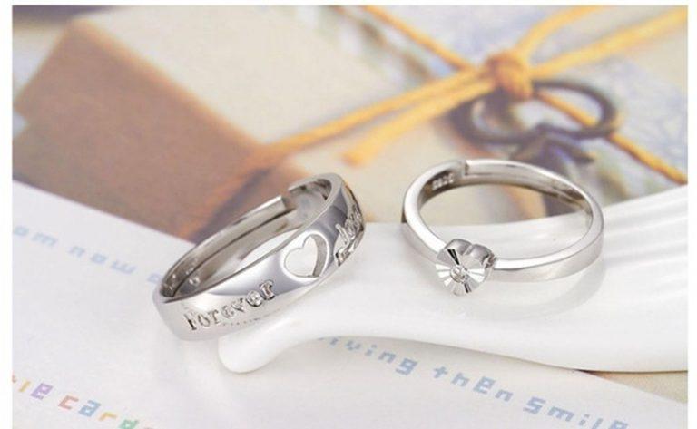 Inele cuplu argint 925 ajustabile inimioare profil