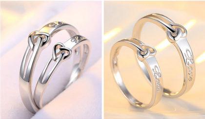 Inele cuplu argint 925 ajustabile Love fata