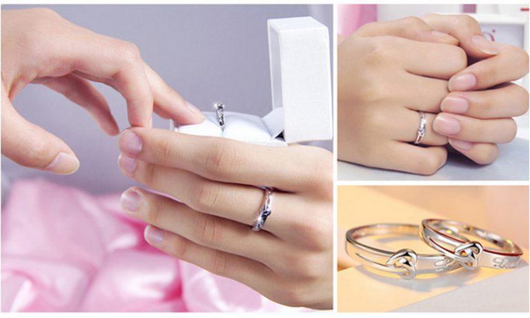 Inele cuplu argint 925 ajustabile Love model