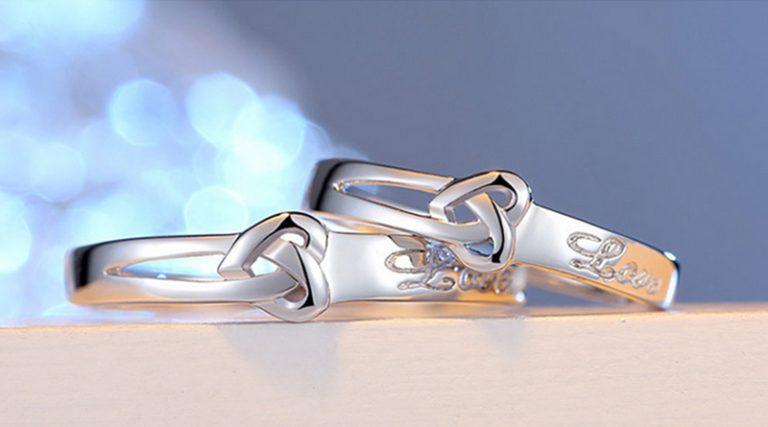 Inele cuplu argint 925 ajustabile Love profil