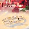 Inele cuplu argint 925 ajustabile Love sus