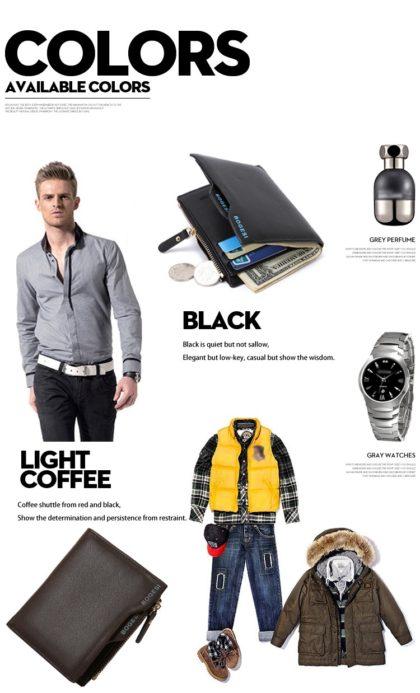 Portofel elegant barbati negru Bogesi profil
