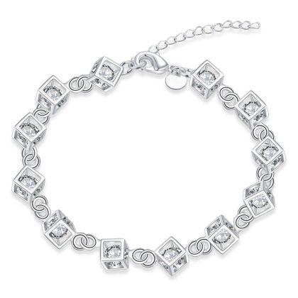 Bratara argint cuburi cu cristale zirconiu