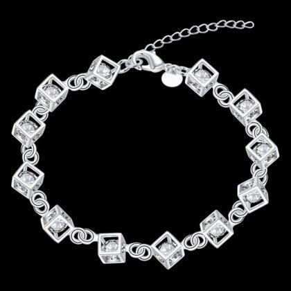 Bratara argint cuburi cu cristale zirconiu fata