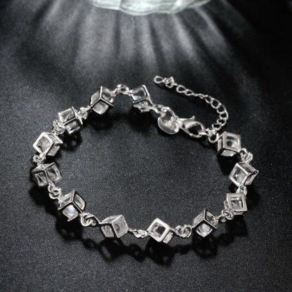 Bratara argint cuburi cu cristale zirconiu sus