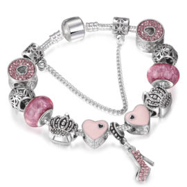 Bratara tip Pandora inimioare roz