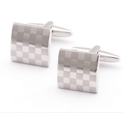 Butoni eleganti carouri argintii