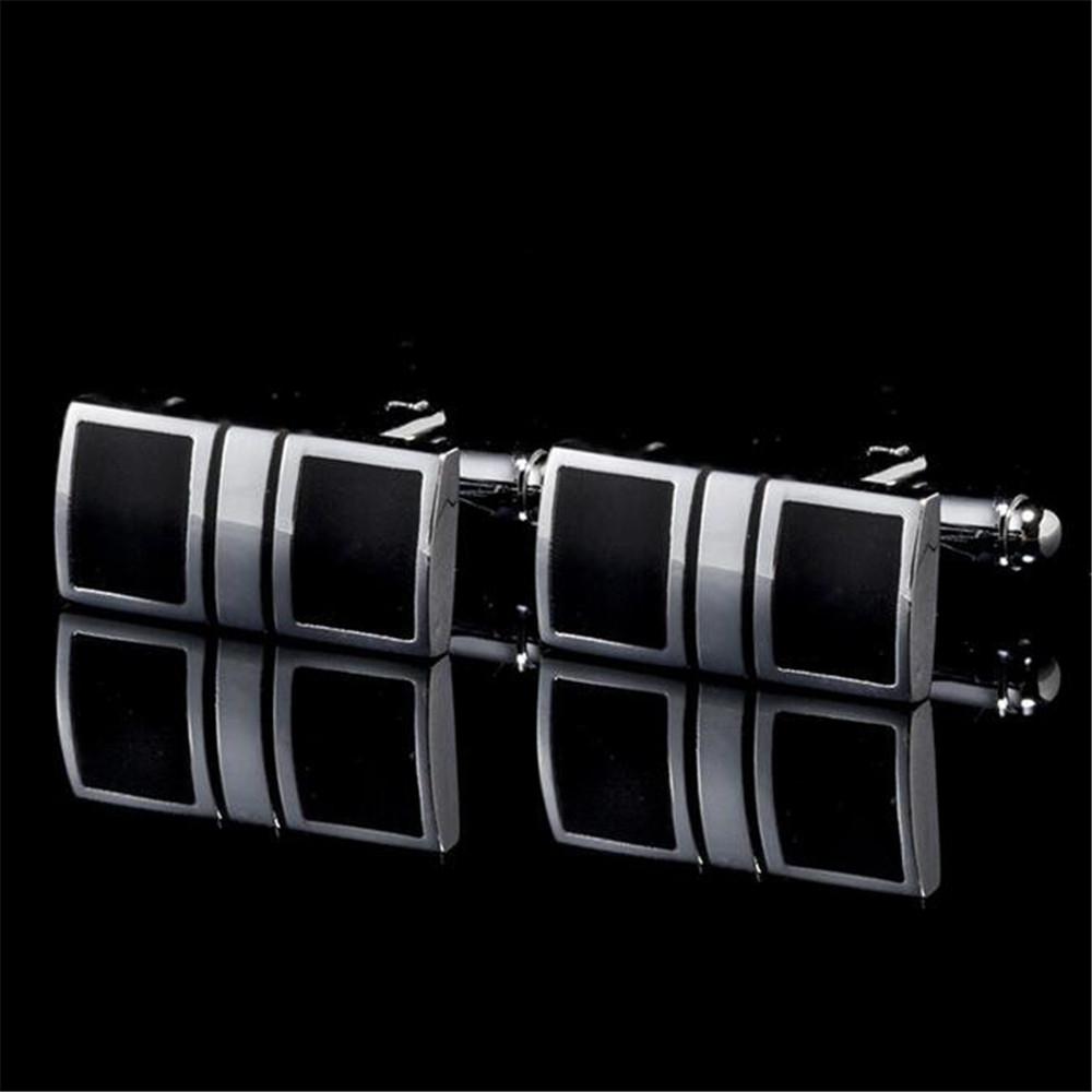 Butoni eleganti dreptunghiulari model negru