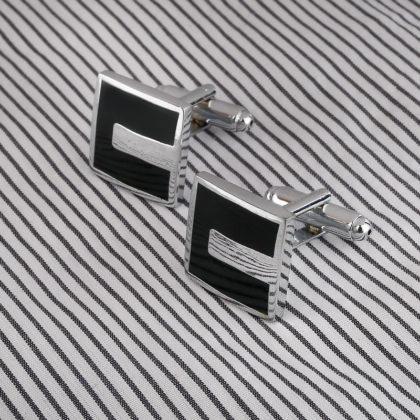 Butoni eleganti negrii-argintii profil