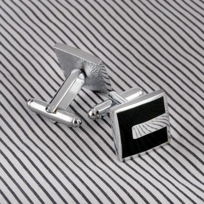 Butoni eleganti negrii-argintii sus