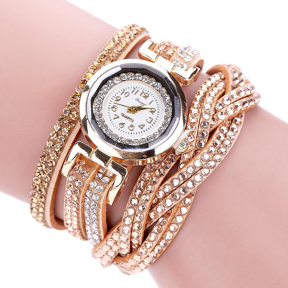 Ceas de mana auriu cu cristale Duoya