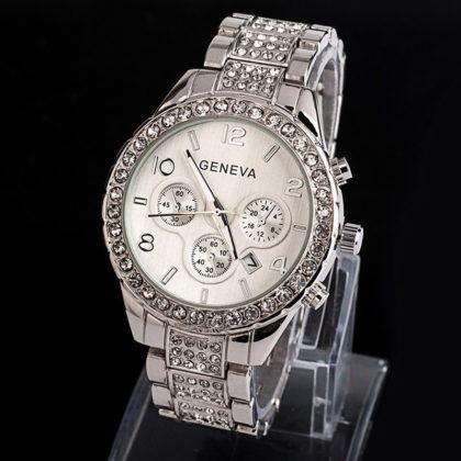 Ceas Geneva argintiu cu cristale fata