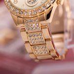 Ceas Geneva auriu cu cristale detalii