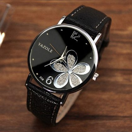 Ceas negru Yazole floricica argintie