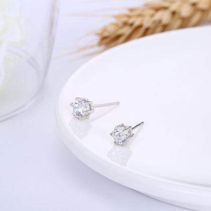 Cercei eleganti argint 925 mici zirconiu sus