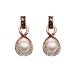 Cercei eleganti cu perla si cristale placati aur