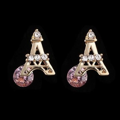 Cercei placati aur mici Turnu Eiffel fata
