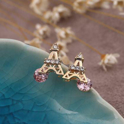 Cercei placati aur mici Turnu Eiffel profil