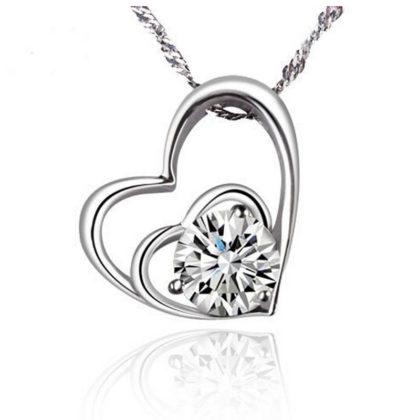 Lantisor argint inimioara dubla cu zirconiu