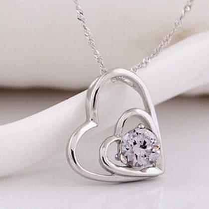 Lantisor argint inimioara dubla cu zirconiu fata