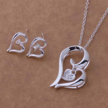 Set argint colier si cercei inimioare Eighty-seven