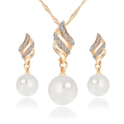 Set elegant placat aur colier si cercei perle