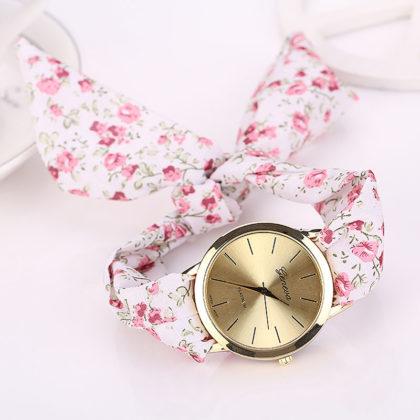 Ceas alb Geneva imprimeu floral roz fata