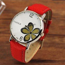 Ceas rosu Yazole floricica verde