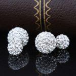 Cercei argint 925 bilute duble cu zirconiu fata